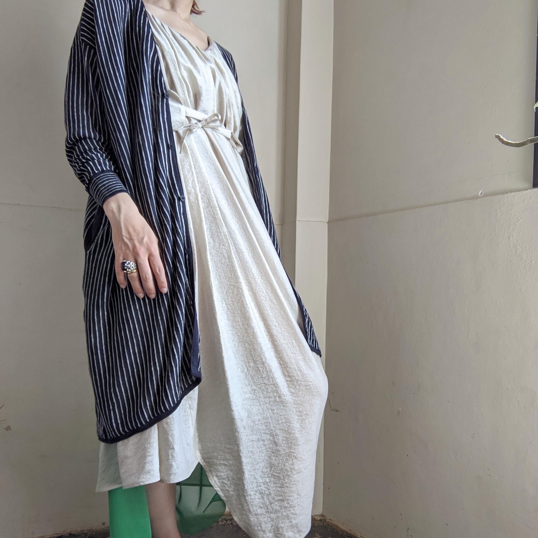 last1!【 C.T.plage 】シーティープラージュ ITALY YARN STRIPE LINEN KNIT long cardigan/ ストライプ ロングカーディガン
