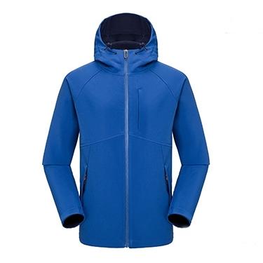 【MEN'S】マウンテンパーカー アウトドアウェア ソフトシェル ジャケット 裏起毛 フード付き ロイヤルブルー【4colors】