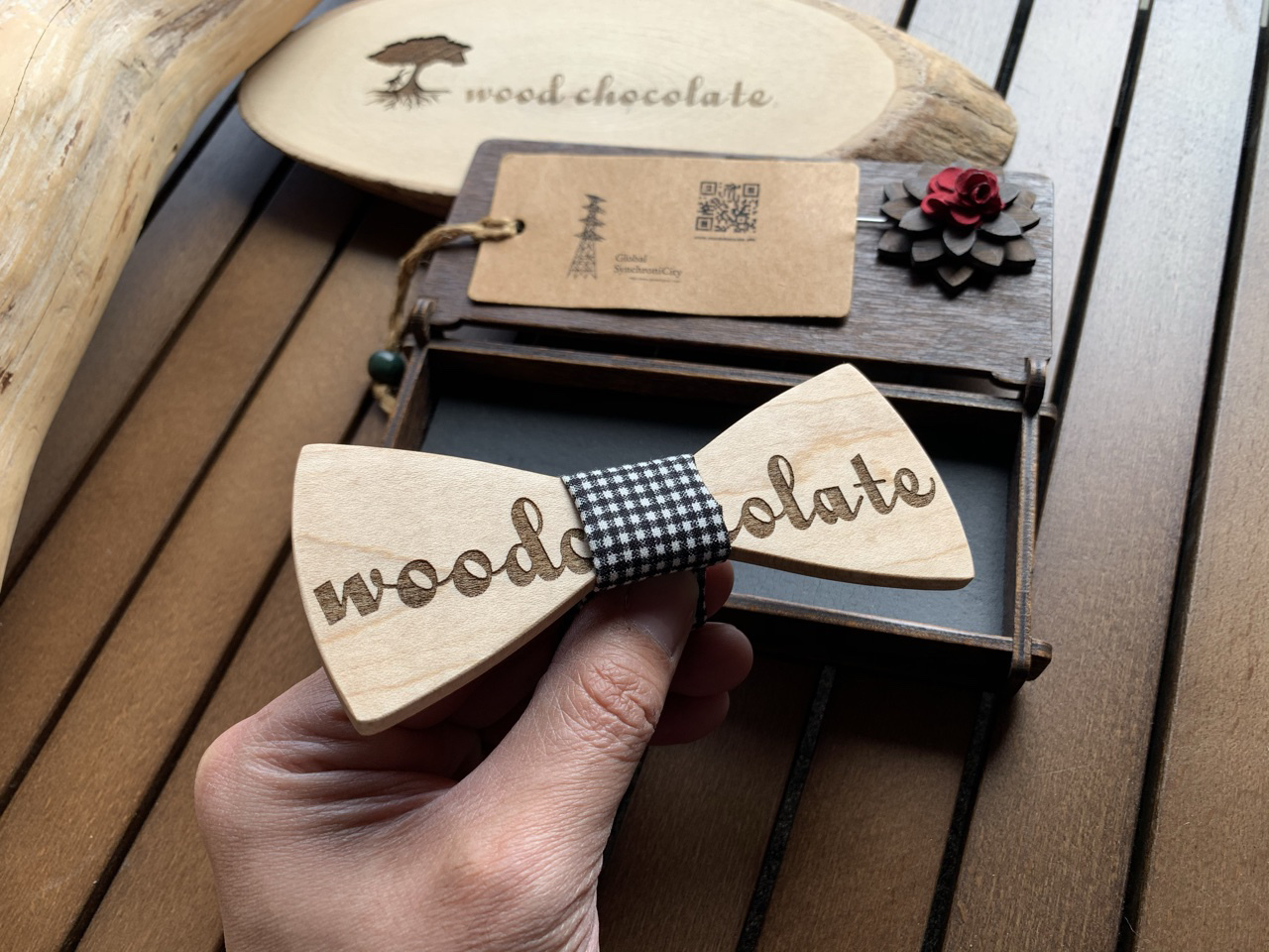 木製 蝶ネクタイ #woodchocolate - 画像1