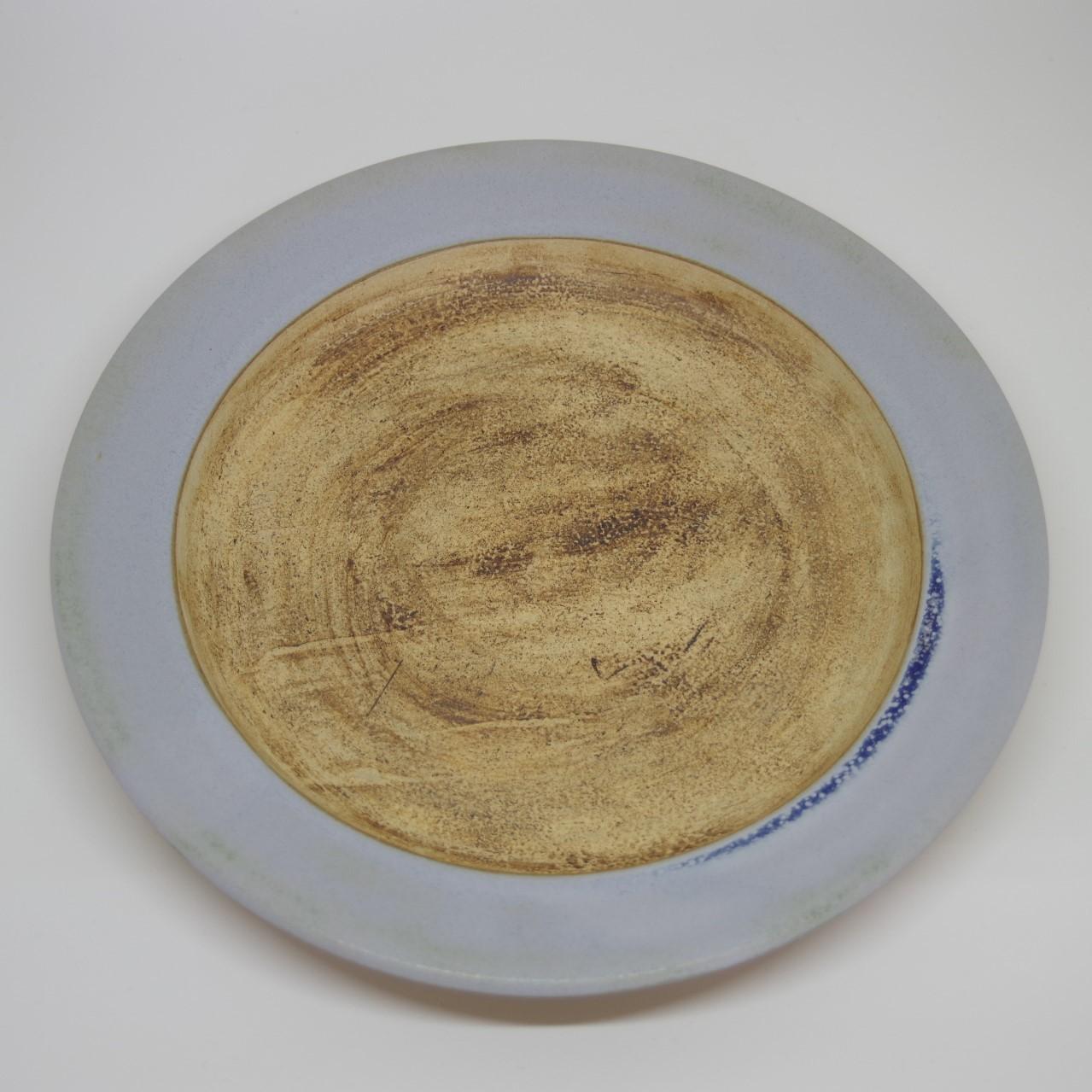 やちむん【空~KOO~】リム皿 8寸 ブルーグレー