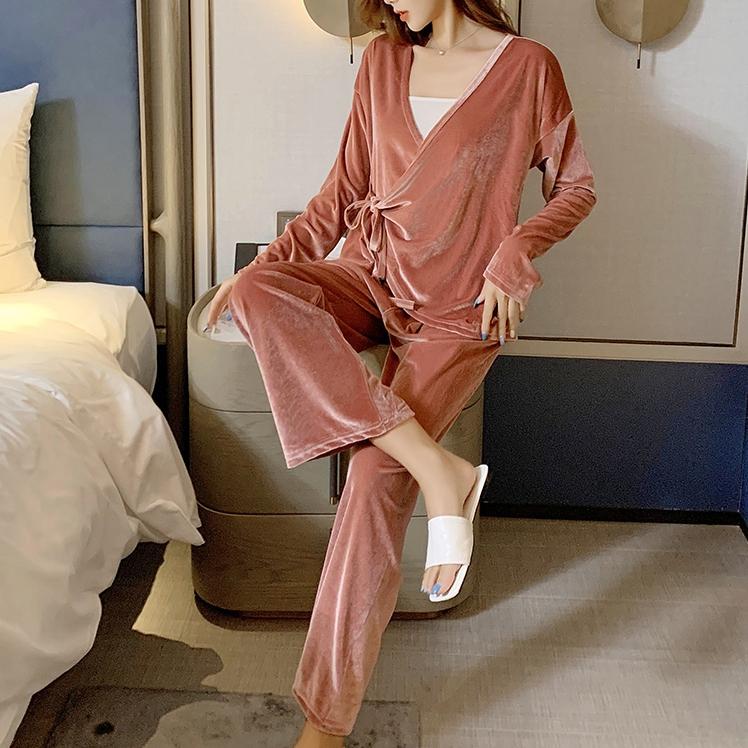 【パジャマ】ファッション無地Vネック切り替え上下セット32885391