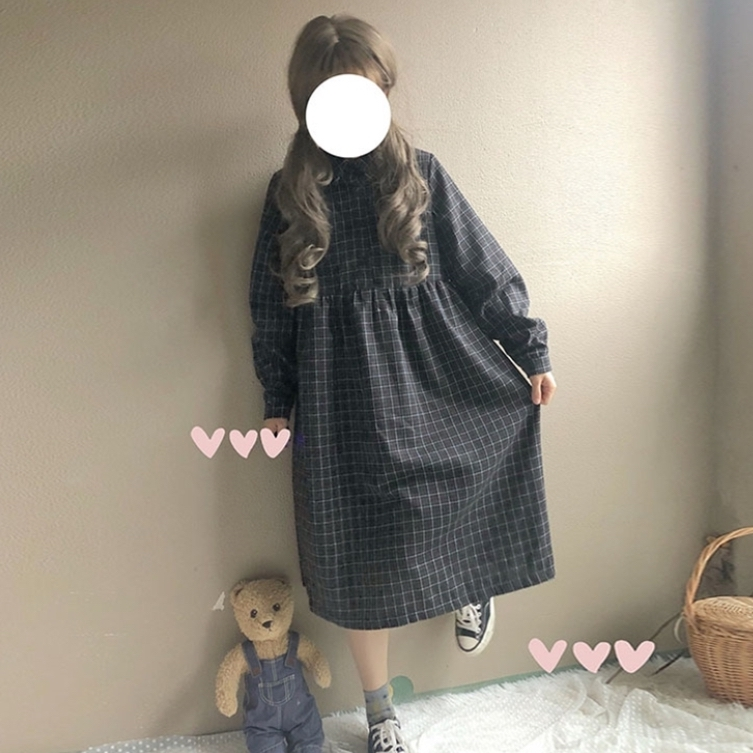 【送料無料】ふんわり ガーリー ♡ チェック柄 ミモレ丈 シャツ ワンピース