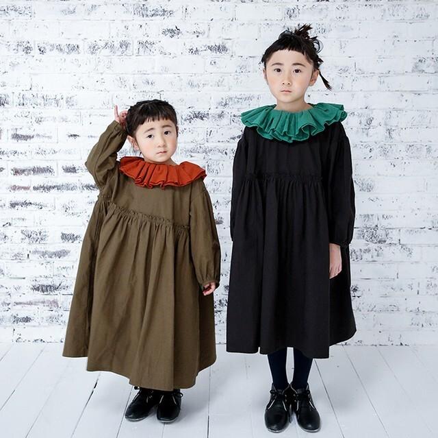 michirico ミチリコ Gather collar OP col.:Black/Olive size:S(90-100)・M(100-115)