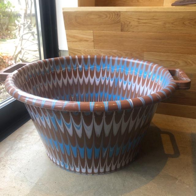 アフリカ  Marble plastic bucket φ50cm・マーブルバケツ / 両手桶