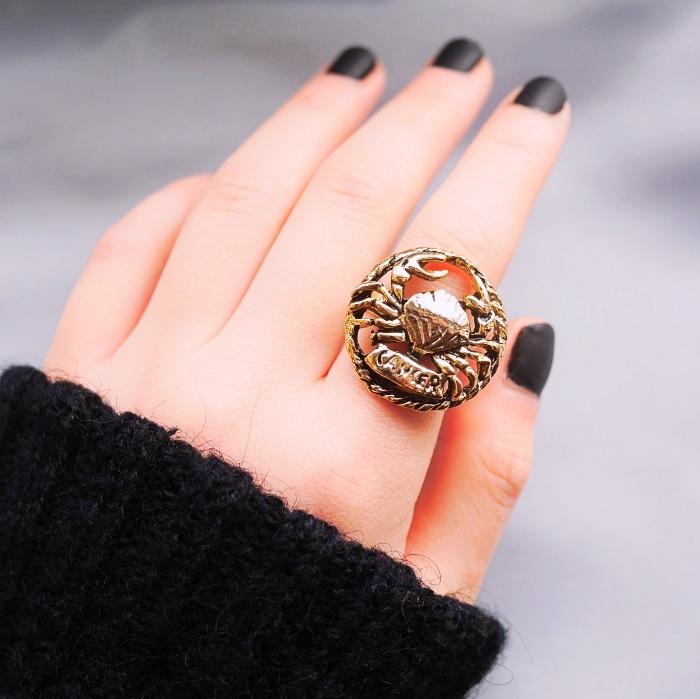 12星座 かに座(キャンサー) 70s ヴィンテージリング(指輪)フリーサイズ Vintage ring Zodiac