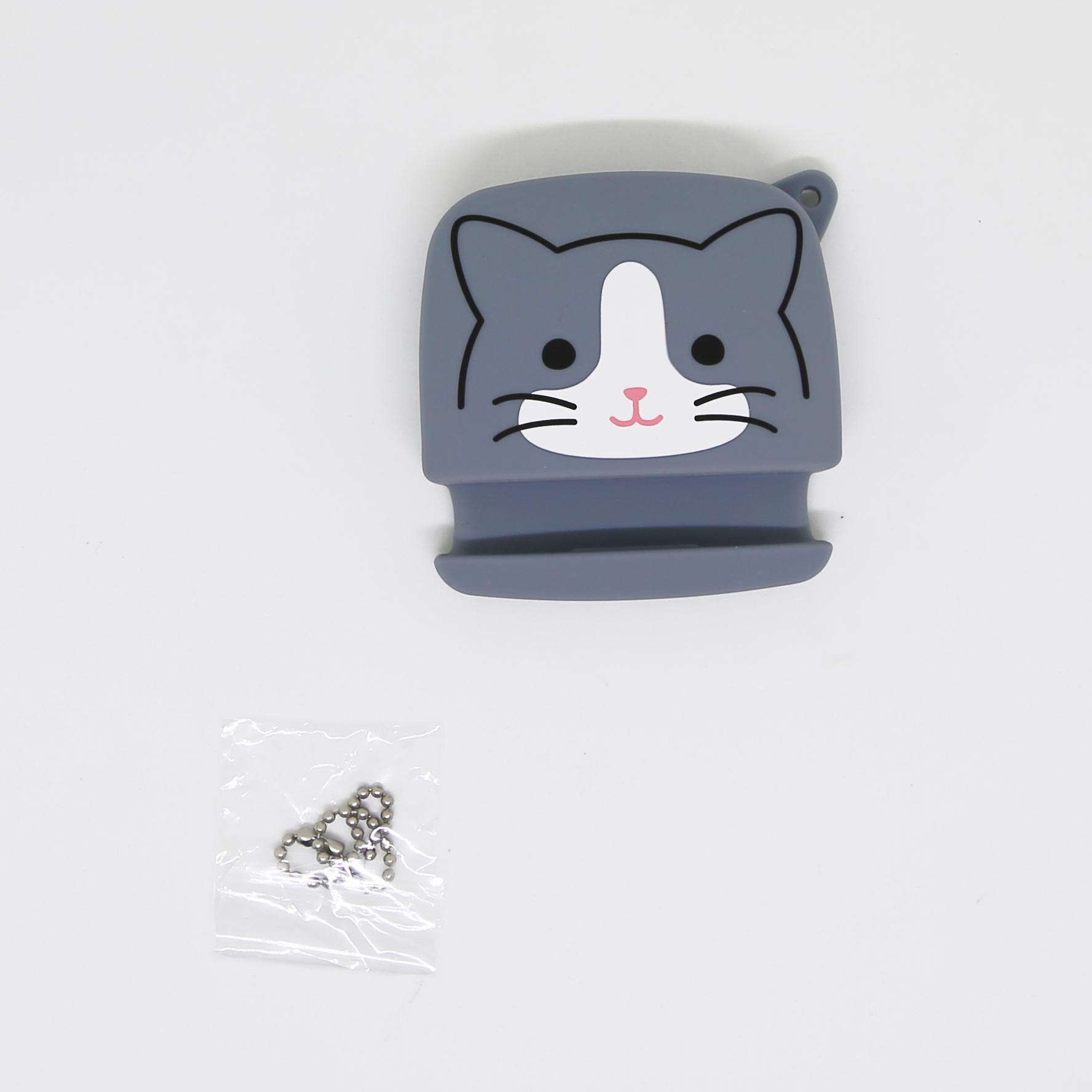 猫イヤホンホルダー(スマホスタンドポーチ)ハチワレ猫
