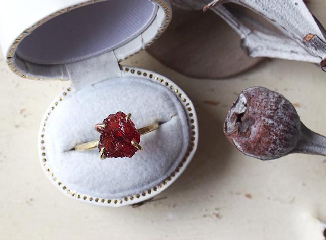 morinokinoko8888様オーダー 原石のスペサタイトガーネットのリング