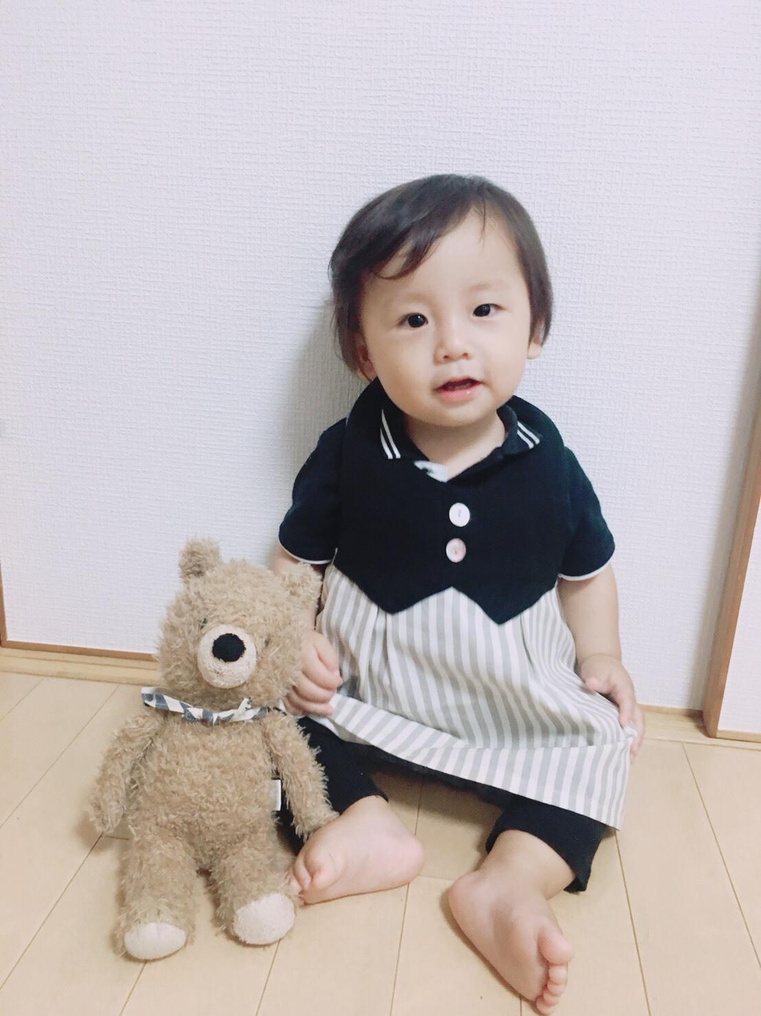 【名入れ】Baby*クマさんポケット付 ドレスエプロン(ストライプグレー)