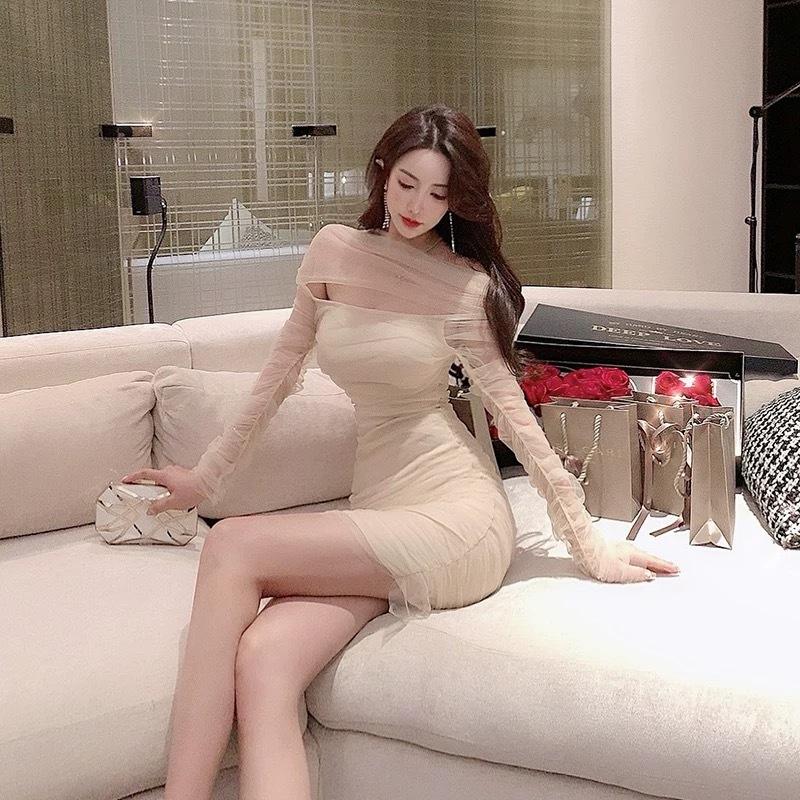 see-through beige dress