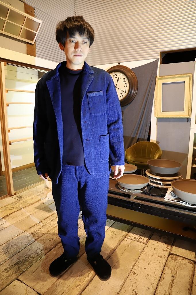 藍染刺織備後織物メンズジャケット(受注生産)JKK 50