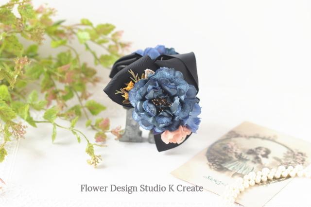 ベロアのブルーローズとコスモスのバンスクリップ 髪飾り ヘアクリップ 青 黒 お出掛け フォーマル