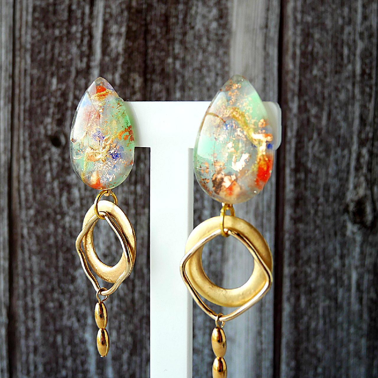 """ Earrings NO.0-1905″ 天然石風ペイント&ゴールド"