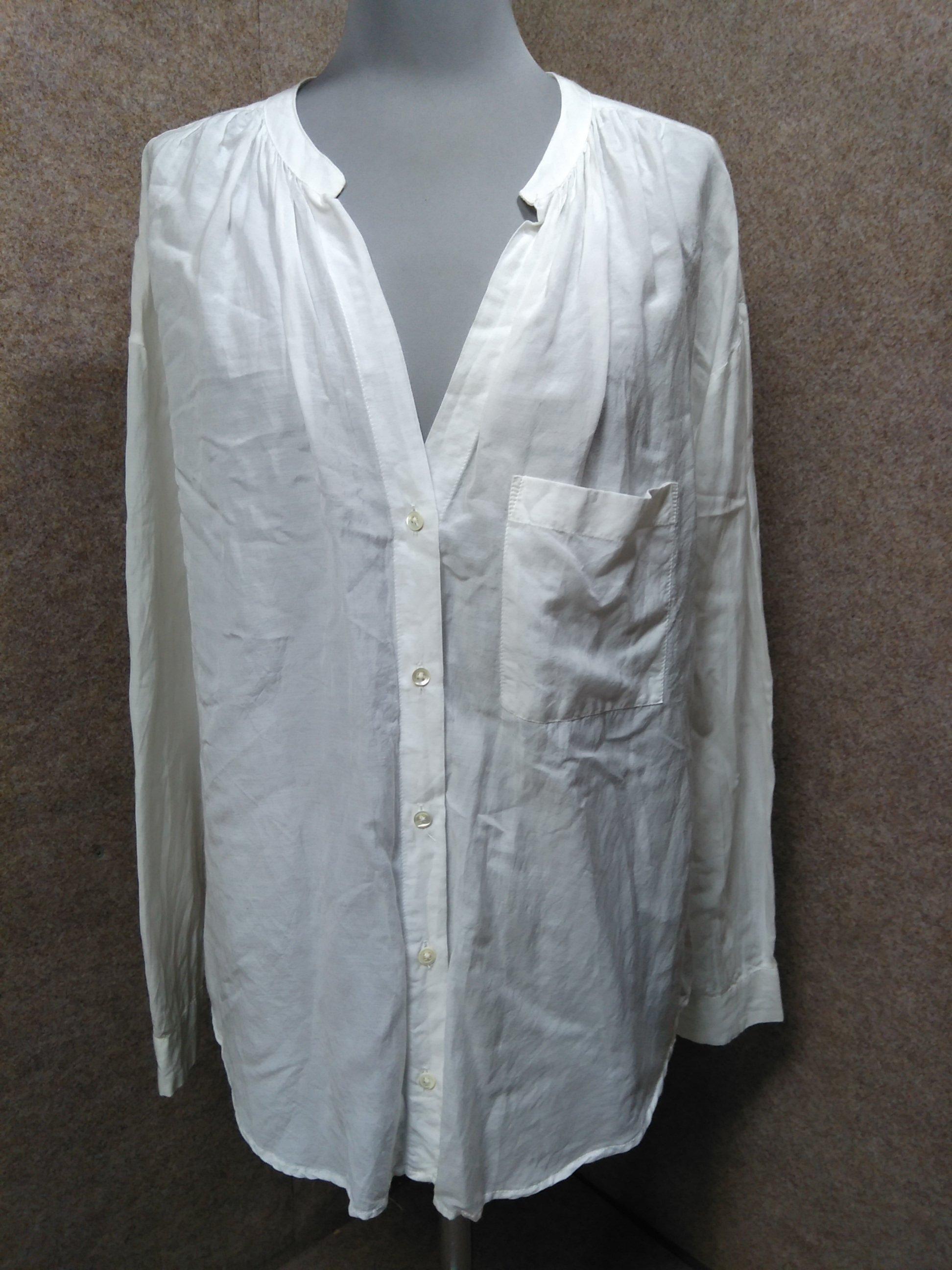 スピックアンドスパン シャツ ブラウス 白 綿/レーヨン mu808e