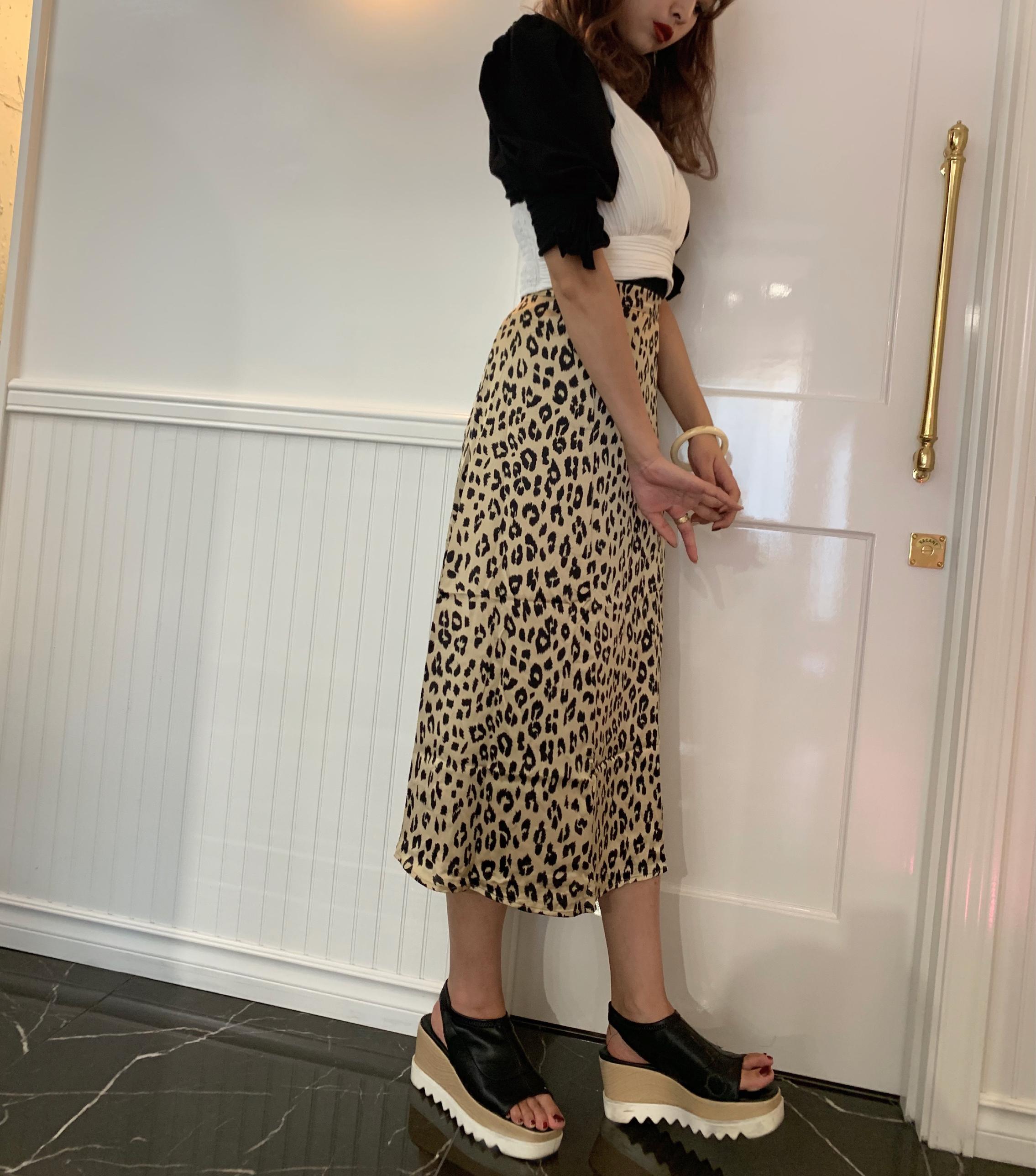 leopard long satin skirt