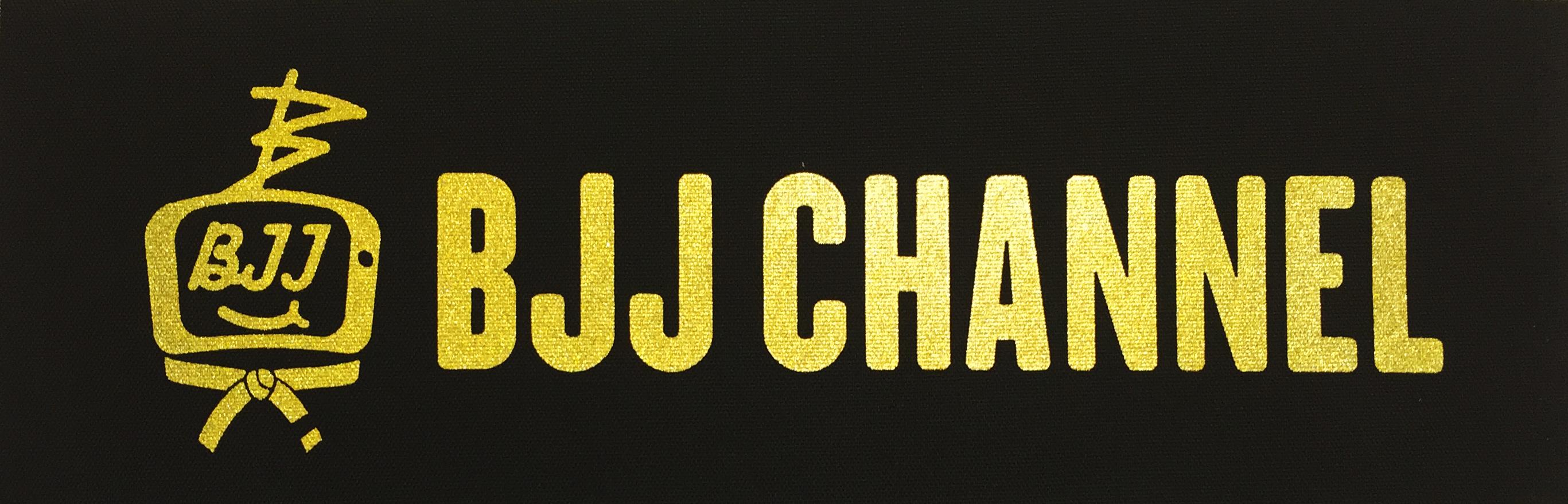 送料無料!!! BJJ チャンネルパッチ 横長 カラー黒地に金