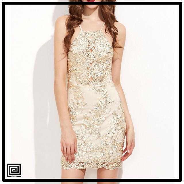 ノースリーブバックレスアップリケゴールドドレス