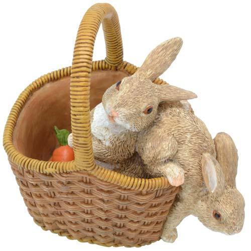 かごの中の2ひきのウサギ