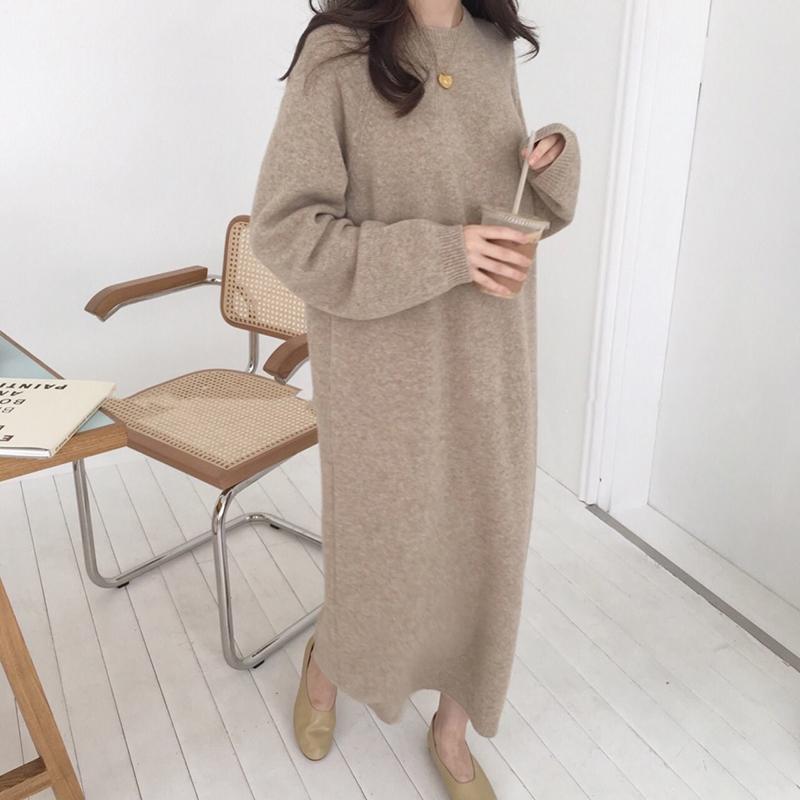 【dress】簡約無地ラウンドネックプルオーバーカジュアルチュニック14309010
