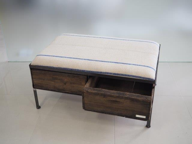 品番UESW-120  2drawer ottoman[wide/European grain sacks]