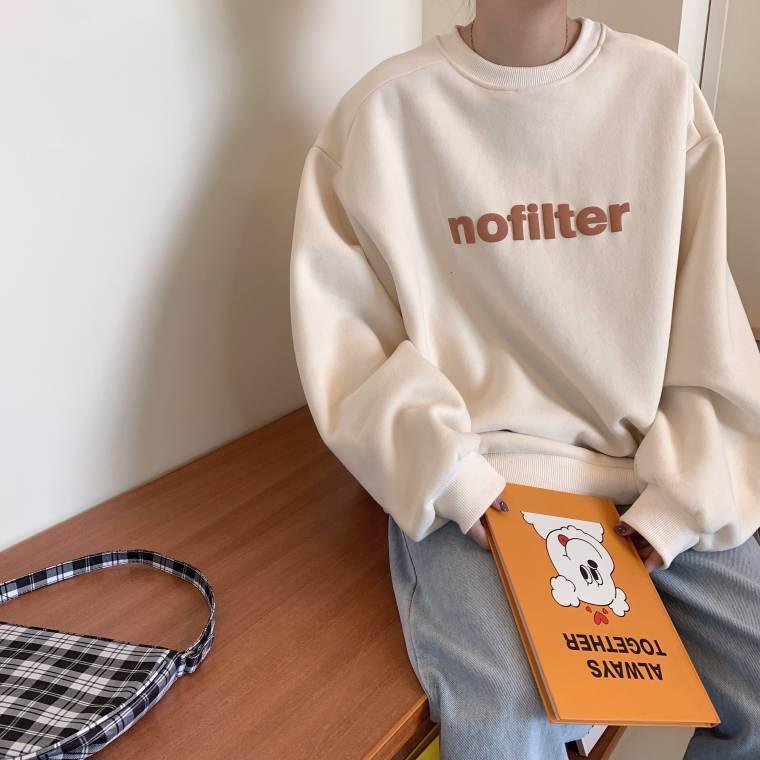 【送料無料】 こなれカジュアル♡ ポップ ロゴ プルオーバー トップス オーバーサイズ 裏起毛 ボリューム袖