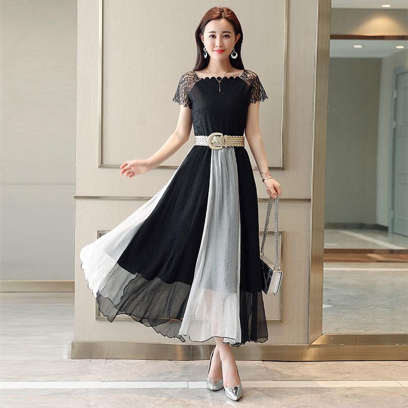 1195ef897ac95 ... モノトーン ドレス ワンピース レディース.  送料無料 春 シックでゴージャスな2色使いのドレスワンピ シフォン