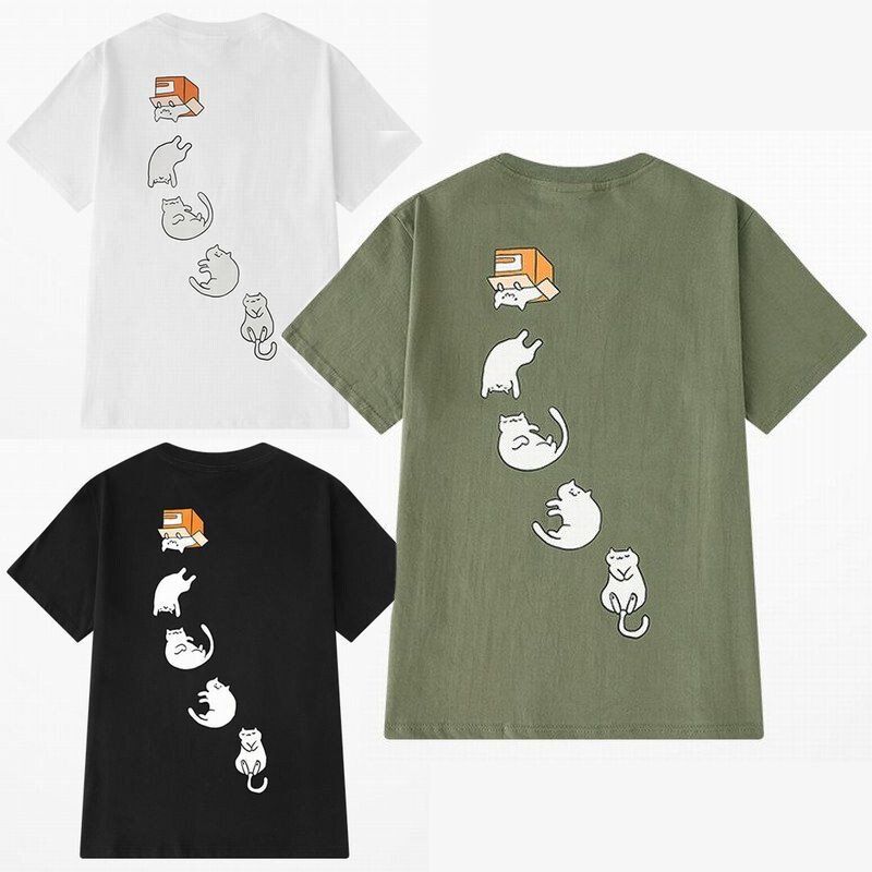 ユニセックス 半袖 Tシャツ メンズ レディース かわいい ダンボールから転げ落ちる猫 ネコ プリント オーバーサイズ 大きいサイズ ルーズ ストリート