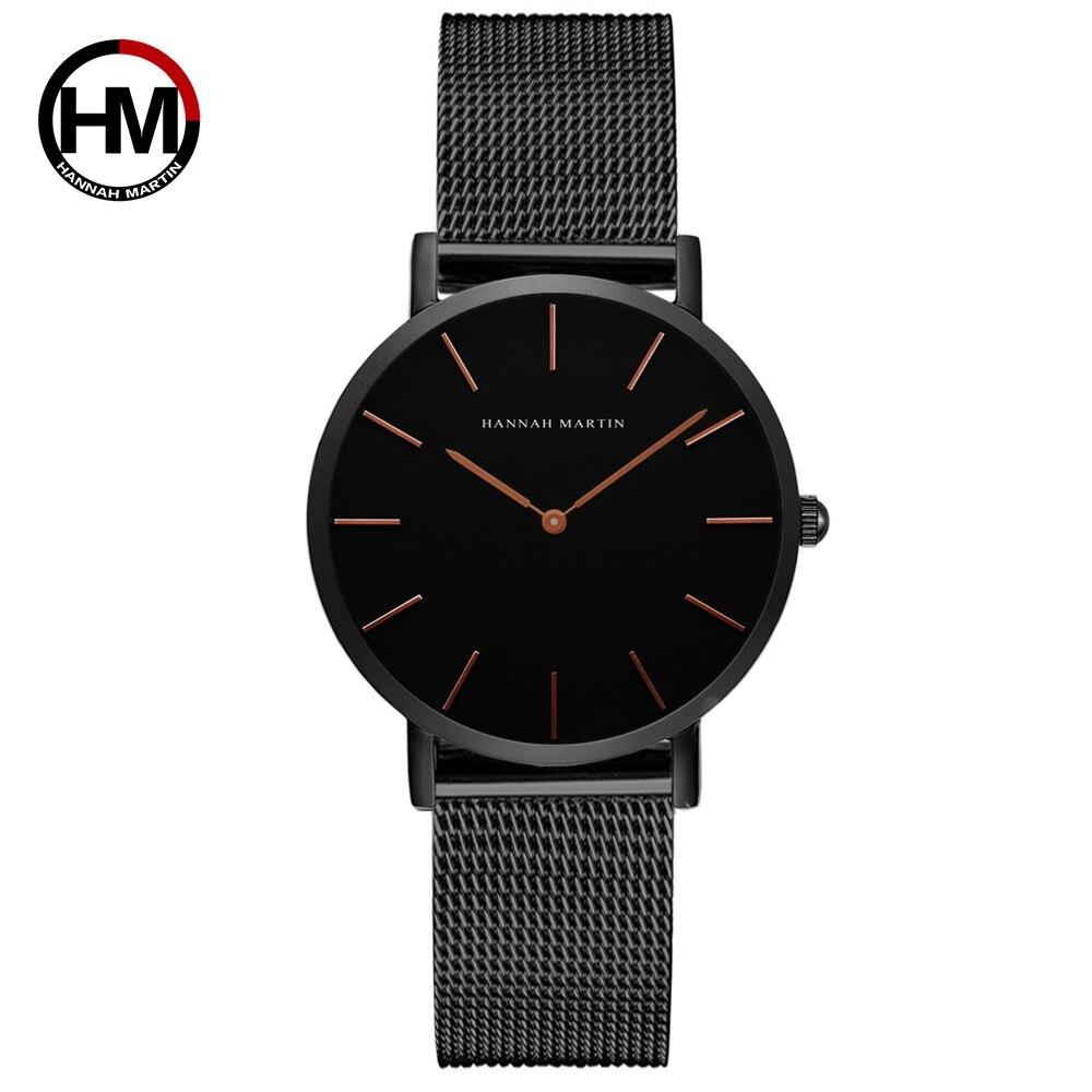 36ミリメートル新着ローズゴールド黒シンプルなバウハウスのデザイン日本クォーツレディースステンレス鋼超薄型防水女性の腕時計CH36-WFH