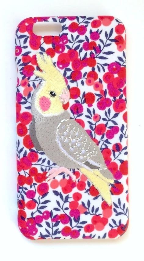 刺繍iPhone6ケース オカメインコ【リバティプリント】