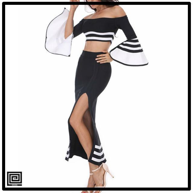 ブラック&ホワイトマーメイドセットアップバンテージドレス