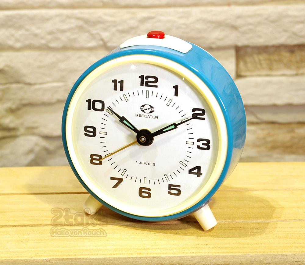 【Vintage品】ソビエト製 デッドストック 手巻き目覚まし時計 KUCO ブルー /0056
