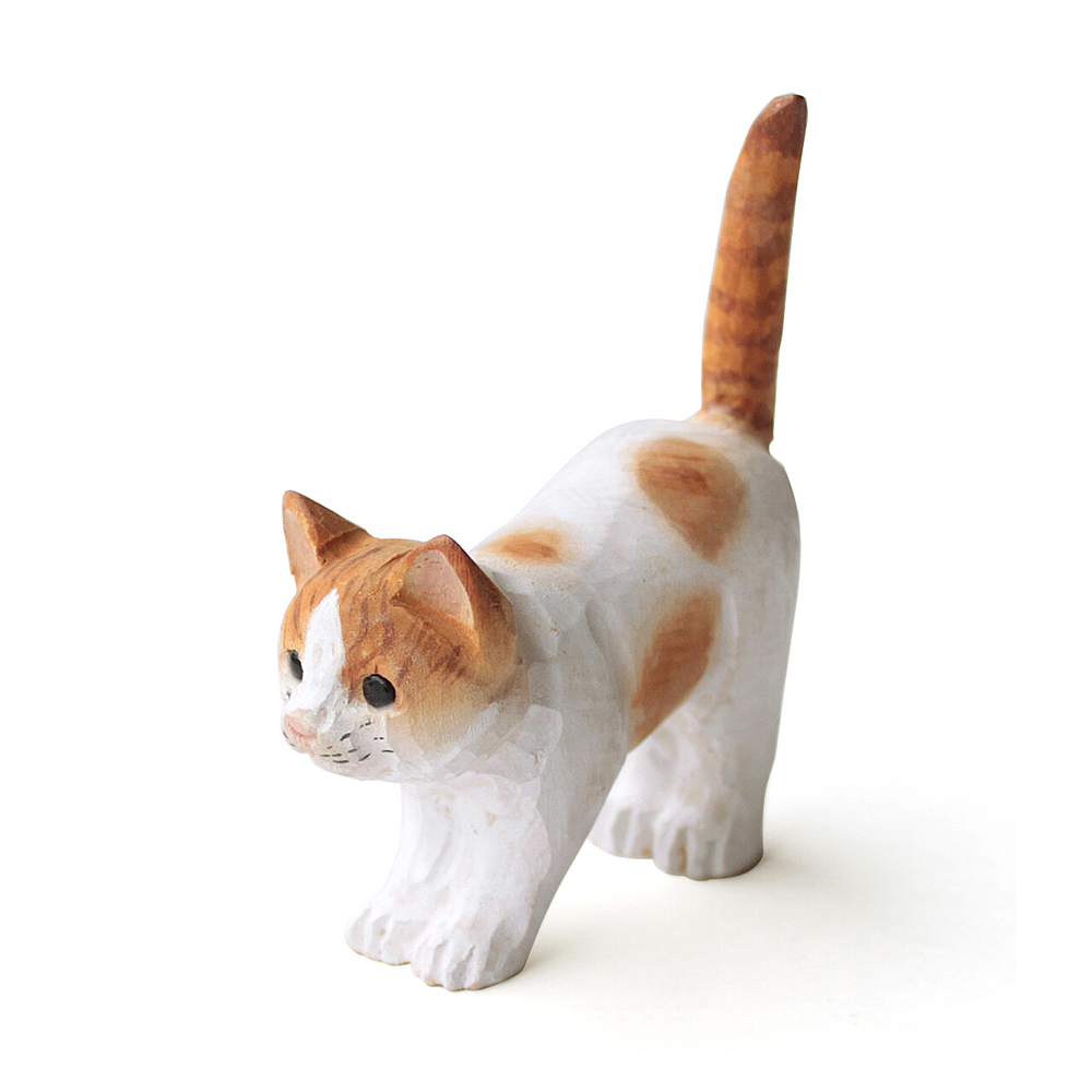猫リングホルダー(ウッデンアニマルキャット)茶シロ