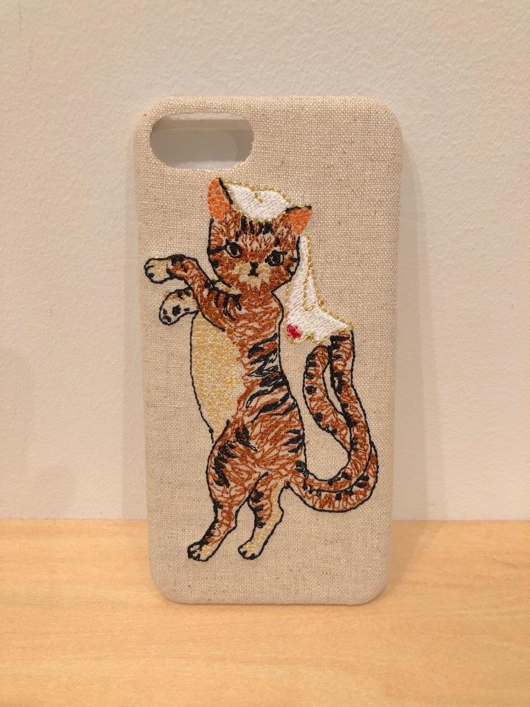 猫又トラ柄iPhone6/6S&7&8ケース【綿麻生地】