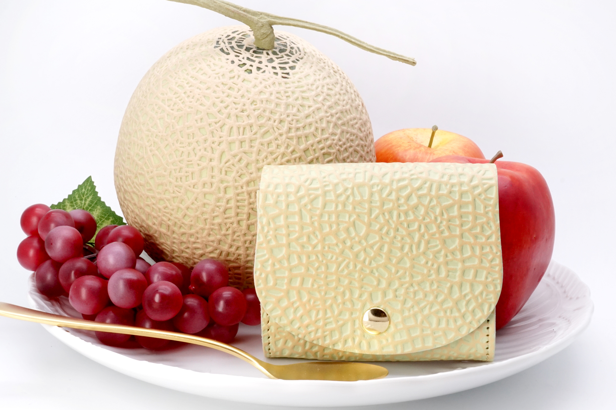 クラウンメロンなコンパクト財布(牛革製)/静岡クラウンメロンコラボ