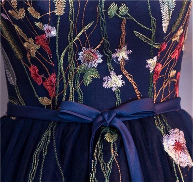 4566512a4bd45  即納商品 パーティードレス シースルー 花柄 刺繍 オーガンジー ネイビー ワンピース 7分袖 ミディアム ワンピ フォーマル ミニドレス  カラードレス セレモニー ...