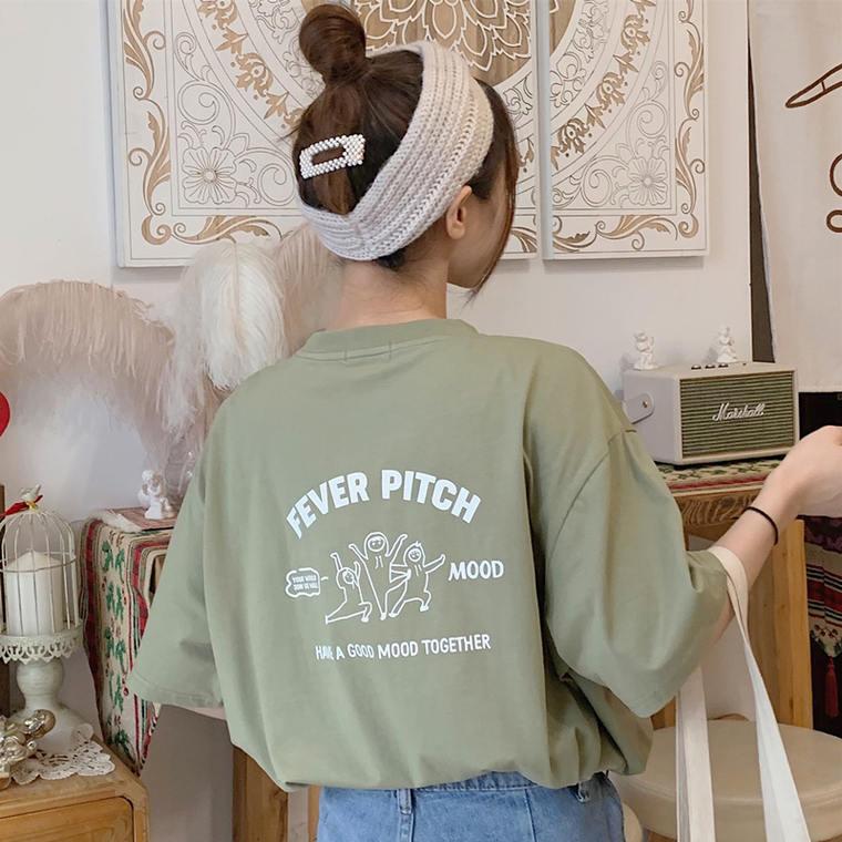 【送料無料】 デイリー カジュアル♡ ルーズ ビッグシルエット オーバーサイズ プリント ロゴ Tシャツ 華奢見え