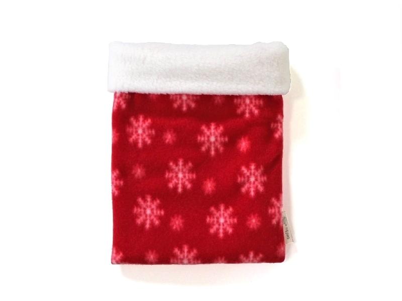 ハリネズミ用寝袋 M(冬用) フリース×フリース スノー レッド 【販売終了】