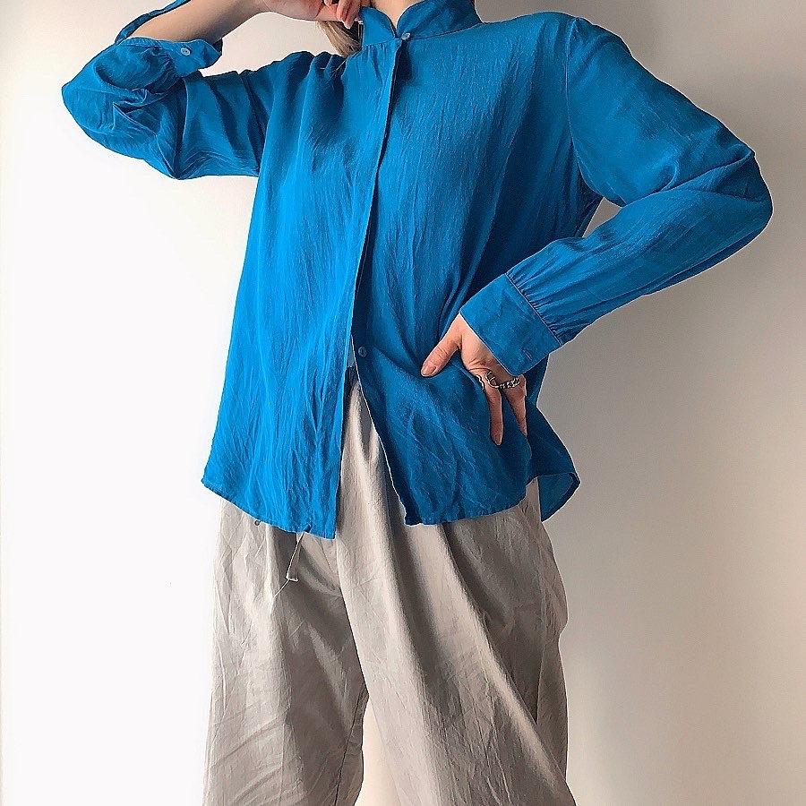 Euro vintage silk shirt -blue-