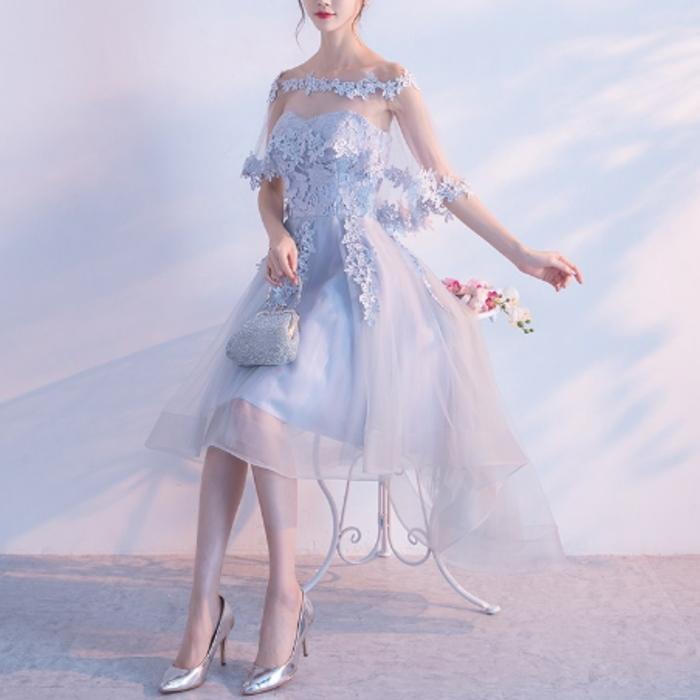 フラワーモチーフ フィッシュテール ドレス
