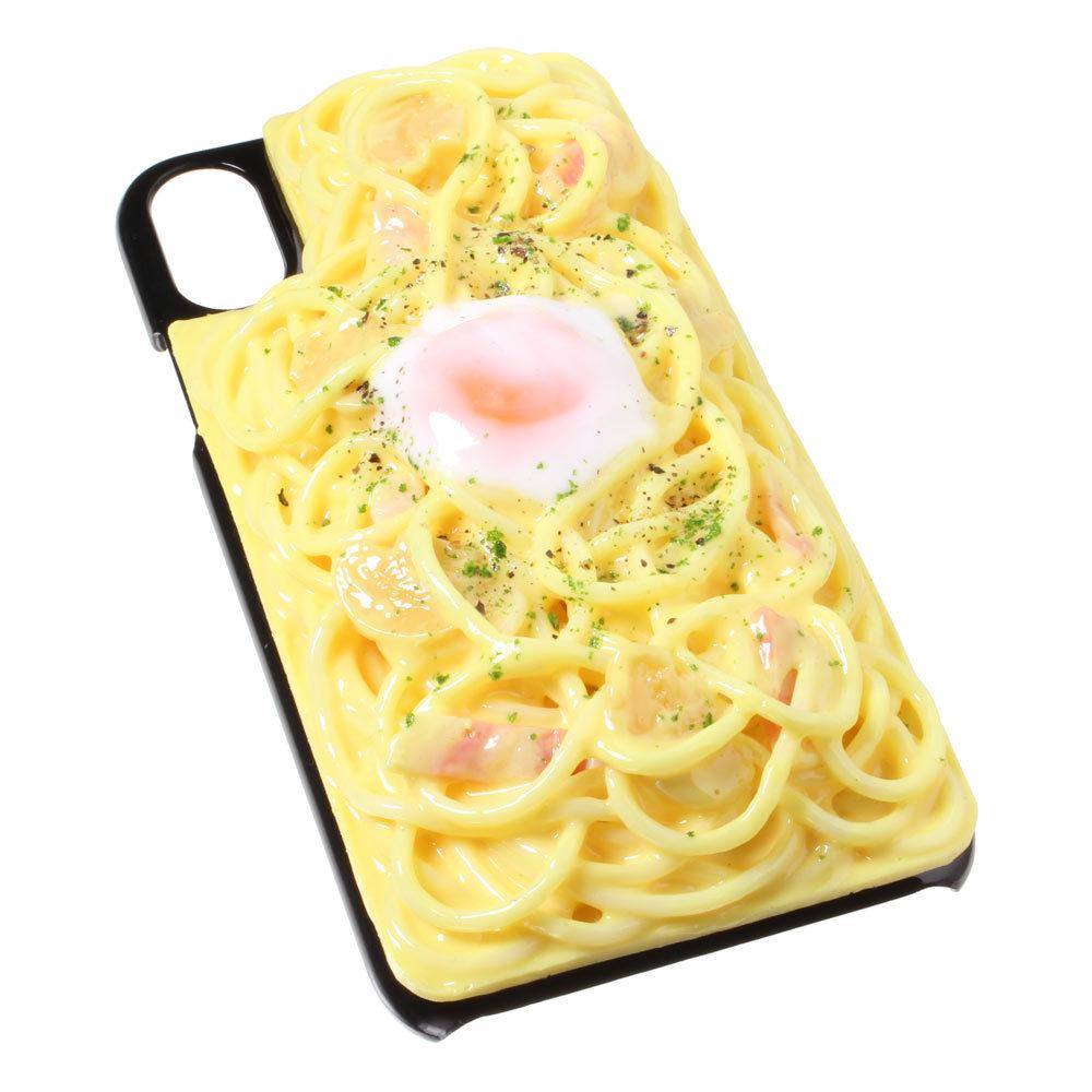 [8000]食品サンプル屋さんのスマホケース(iPhone XS、XS Max、XR:カルボナーラ)【メール便不可】