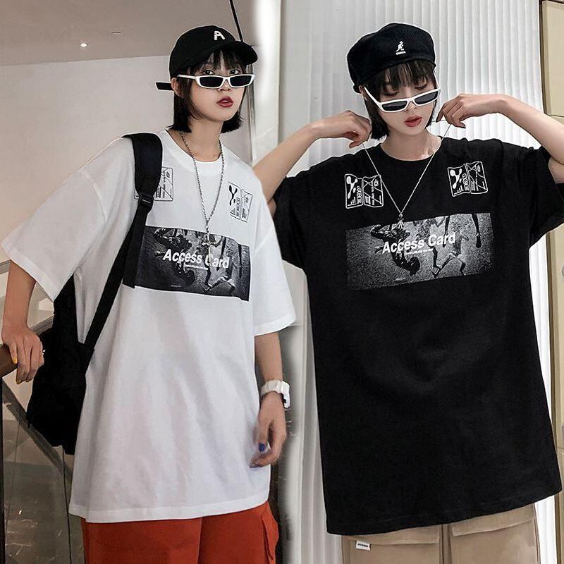 ユニセックス 半袖 Tシャツ メンズ レディース Access Card 英字 プリント オーバーサイズ 大きいサイズ ルーズ ストリート