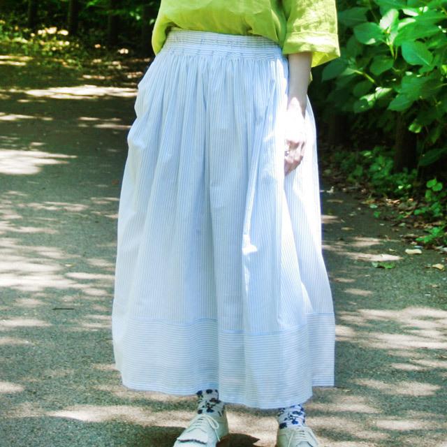 オーガニックコットン ボイルストライプ フンワリギャザースカート
