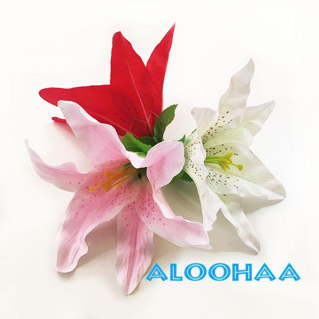 ユリ シングル【ピンク】 ヘアクリップ付き ヘアアクセサリー フラダンス 衣装 髪飾り