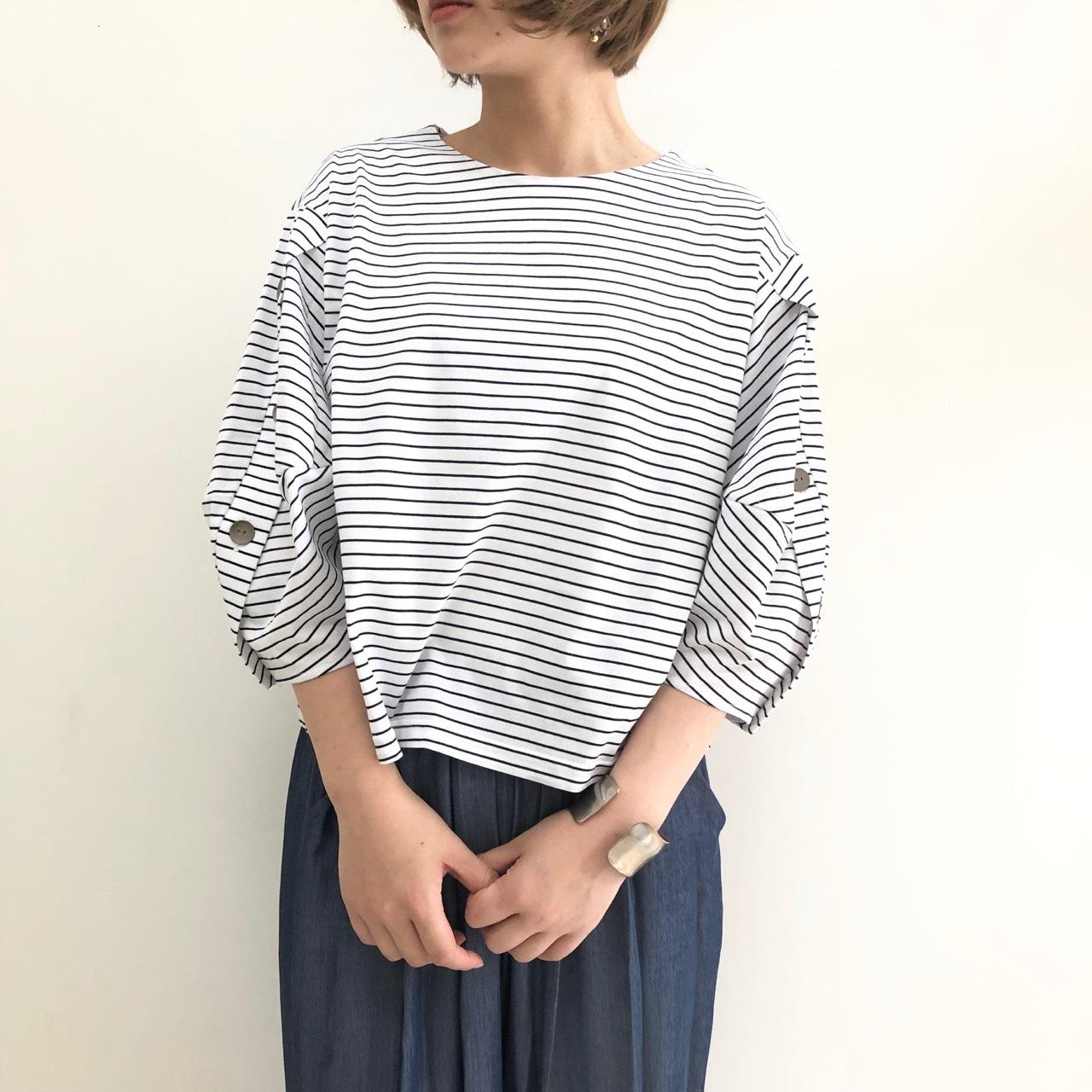 【 CYINICAL 】- 910-95556 - ボーダーボタンTeeシャツ