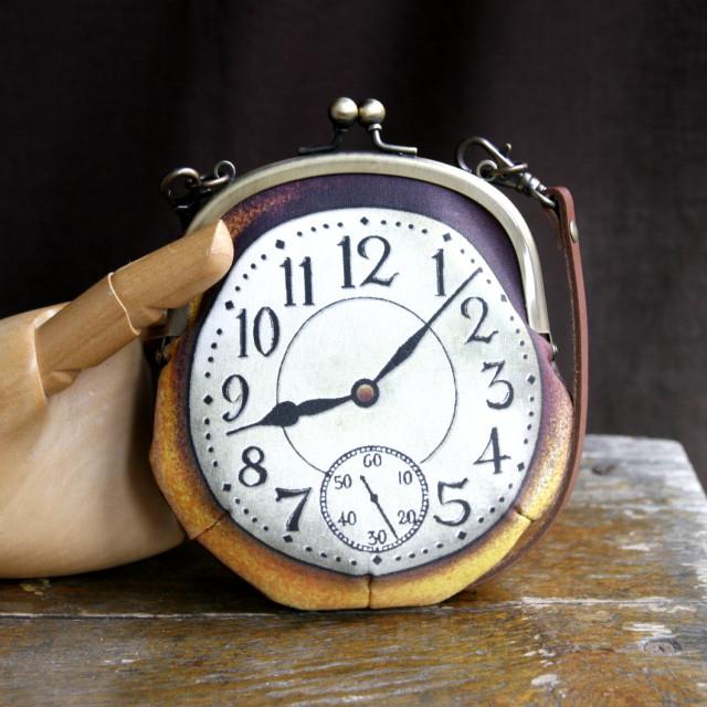 【即納】時計がま口 持ち手つきカードケース アラビア数字金時計 - 金星灯百貨店