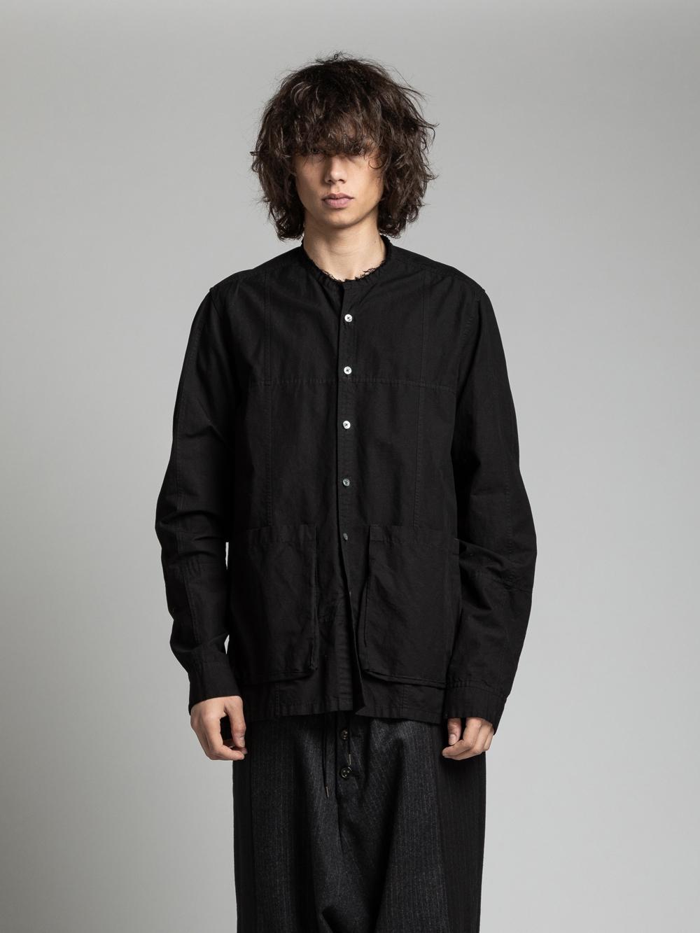 VI-3138-02 / コットンリネン ノーカラー 長袖シャツ