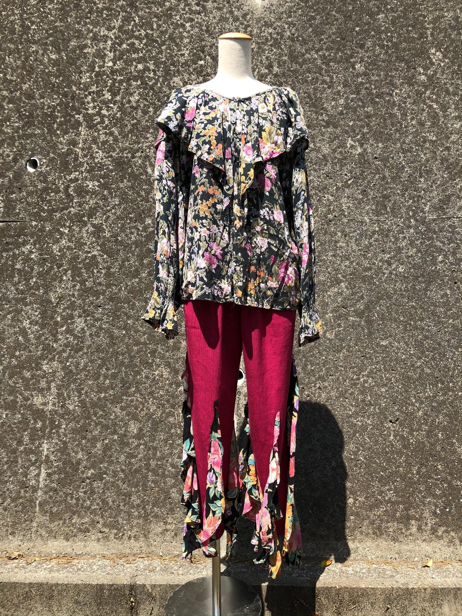 rafflel collar flower printed shirt