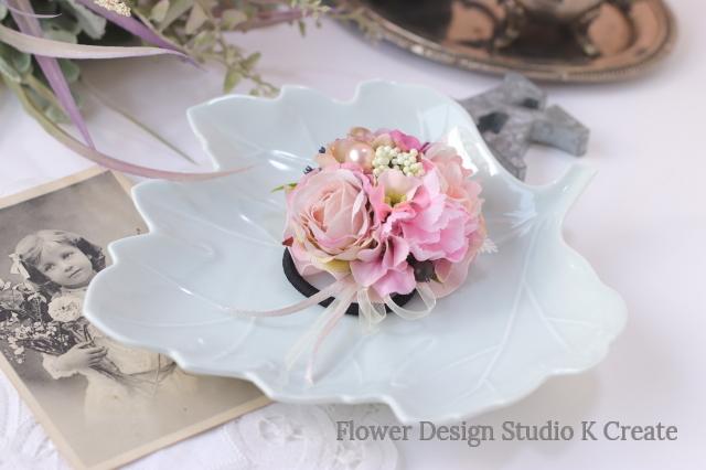 ピンクの薔薇とパールのヘアゴム リボン お花ヘアゴム 髪飾り お出掛け