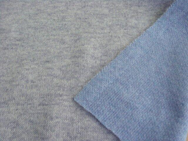 ウール混リバーシブルニット 杢グレー+杢サックスブルー NTM-2625