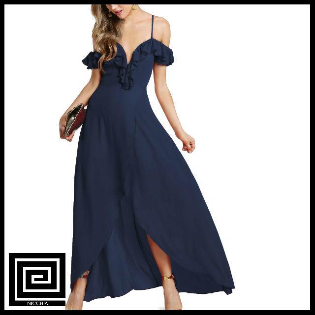 フリルコールドショルダープランジスウィートハートラップドレス