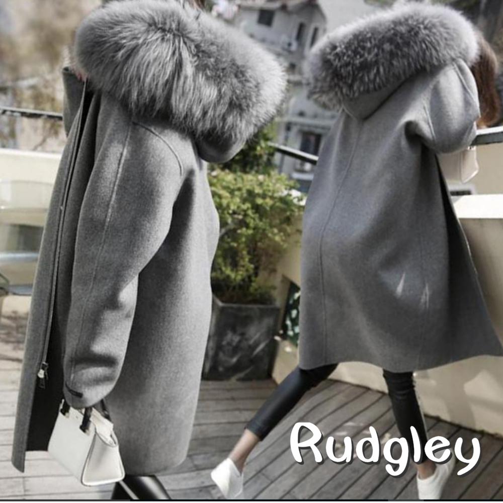 レディースウールジッパージャケット ウールコート フード付きコート